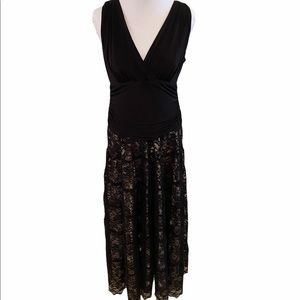SLNY Strapless Black Lace Champagne Evening Gown
